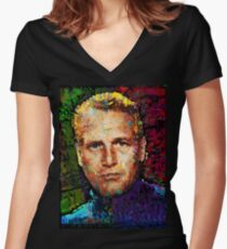 Paul Newman. Cool Cat On A Hot Tin Roof. Women's Fitted V-Neck T-Shirt