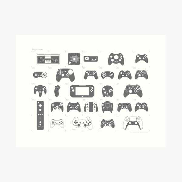 The Evolution of Video Game Controllers Kunstdruck