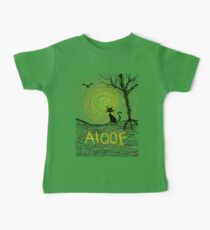 haunting Halloween black kitty cat being Aloof by spiral art tia knight Baby Tee