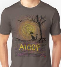 haunting Halloween black kitty cat being Aloof by spiral art tia knight T-Shirt
