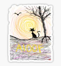 haunting Halloween black kitty cat being Aloof by spiral art tia knight Sticker