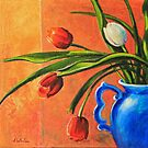Tulips in Blue Vase by Carla Whelan