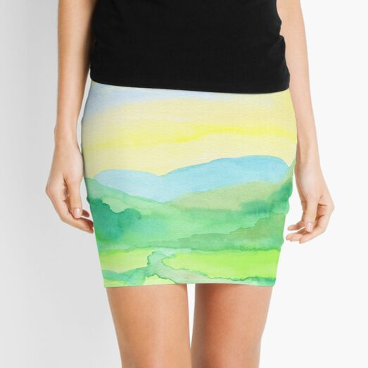 Hand-Painted Watercolor Green Rice Paddies Landscape Mini Skirt