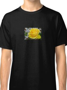 Beautiful Yellow Rose with Natural Garden Background Classic T-Shirt