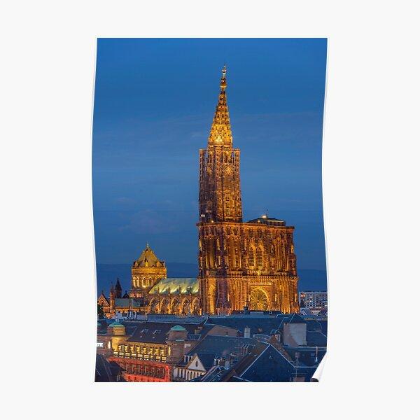 Cathédrale de Strasbourg la nuit  Poster