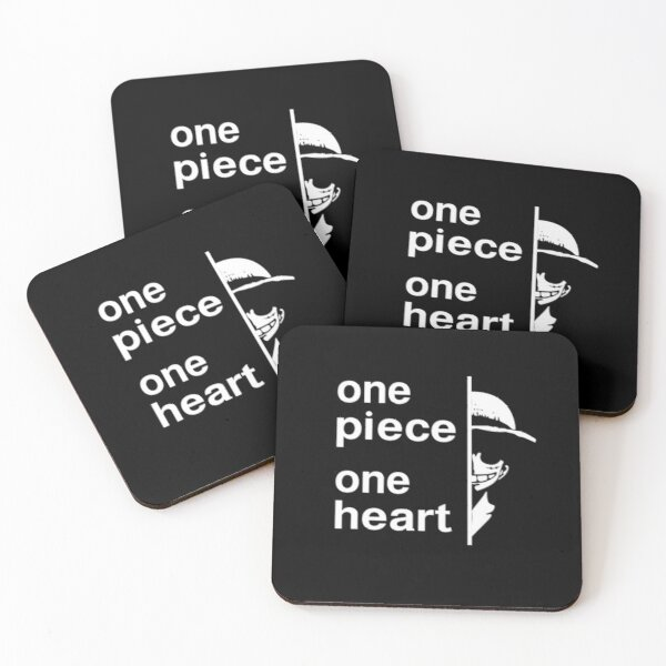 one piece, one heart for all one piece series lovers and Luffy character lovers. Coasters (Set of 4)