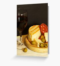Tarjeta de felicitación Red, Cheese, Sausage and Olives
