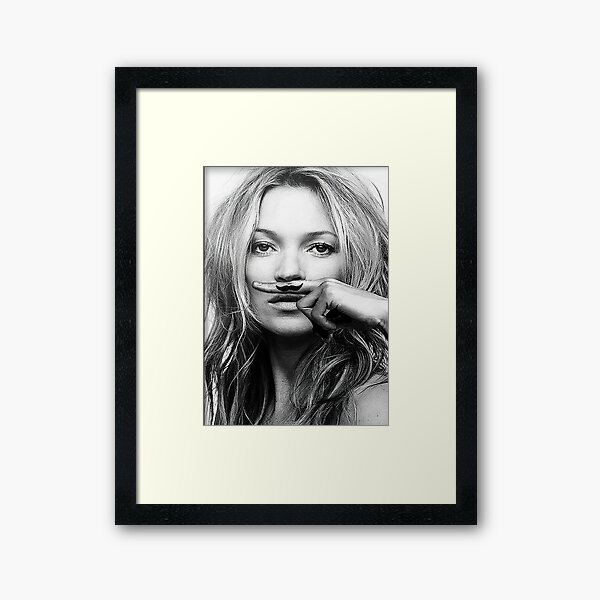 Kate Moss, Mustache, Black and White Photograph Framed Art Print