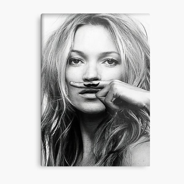 Kate Moss, Mustache, Black and White Photograph Metal Print
