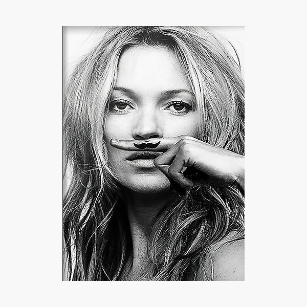 Kate Moss, Mustache, Black and White Photograph Photographic Print