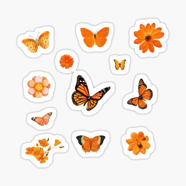 orange flower and butterfly sticker pack Sticker