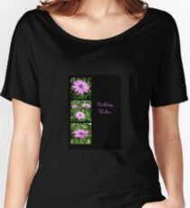 Birthday Wishes Greeting with Pink Daisies Women's Relaxed Fit T-Shirt