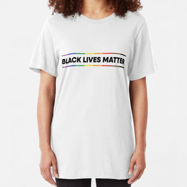 Black Lives Matter Pride Design (black text) Slim Fit T-Shirt