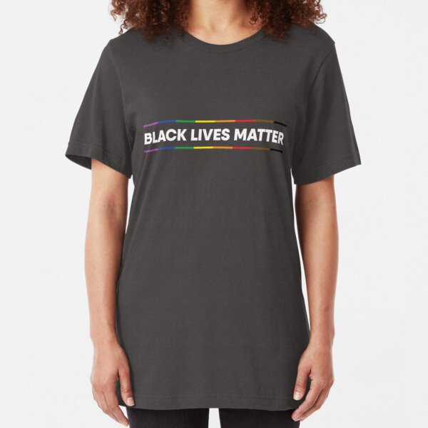 Black Lives Matter Pride Design (white text) Slim Fit T-Shirt