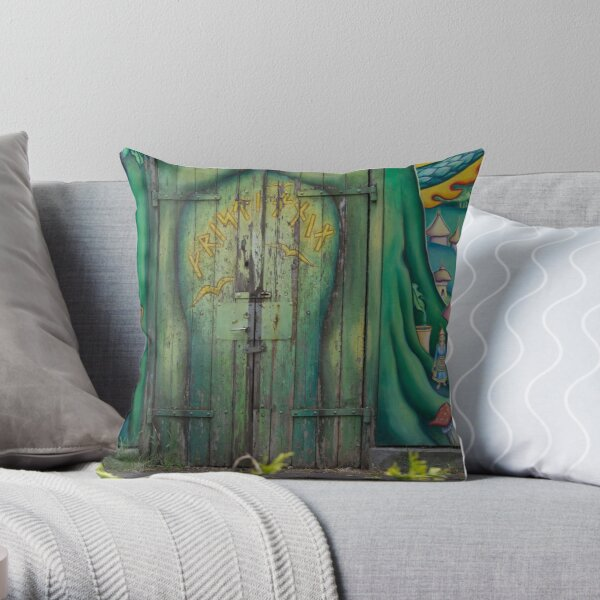 Green door, Copenhagen, Christiania Throw Pillow