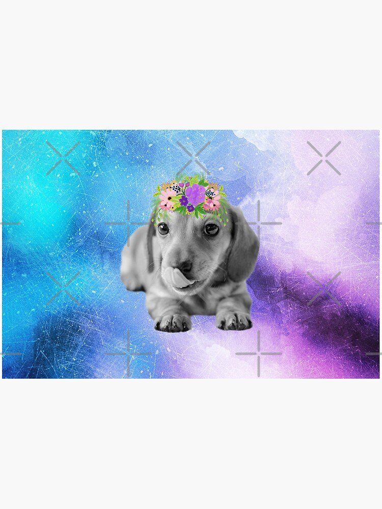 Distressed Watercolour Dachshund Puppy by tribbledesign
