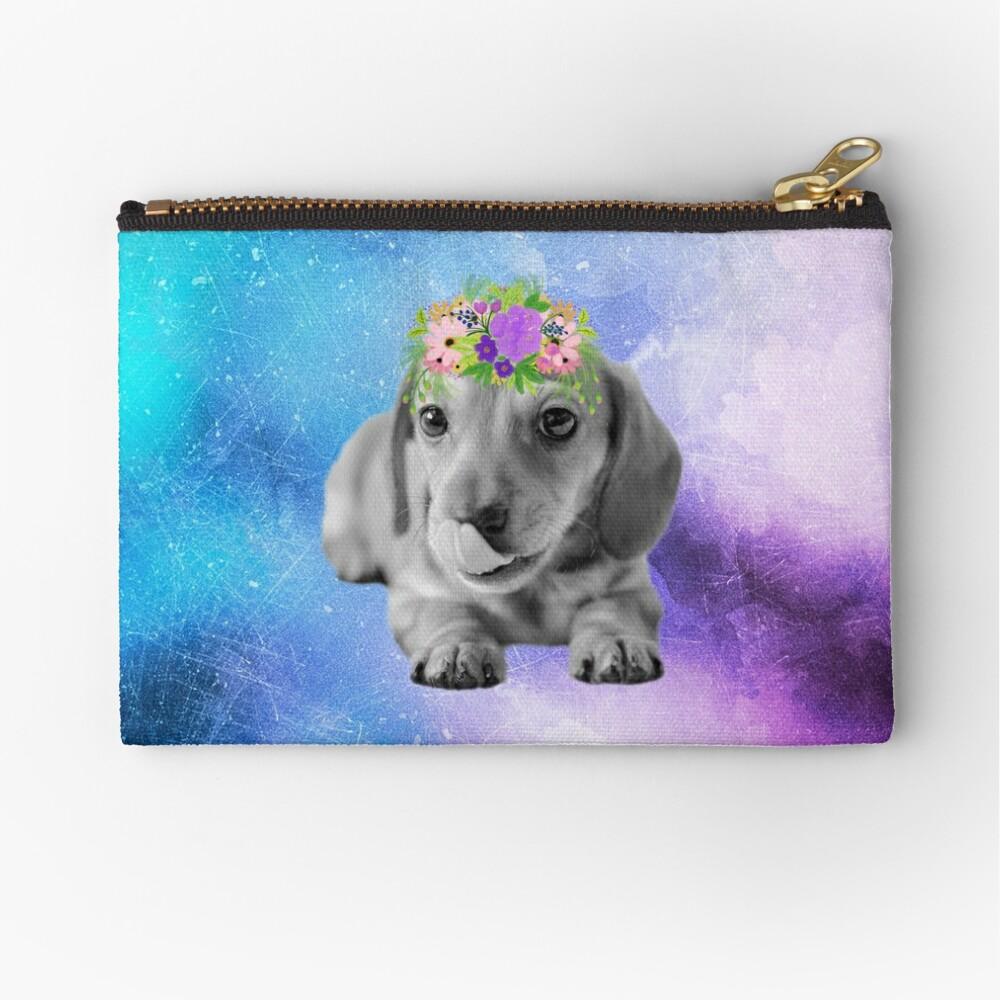Distressed Watercolour Dachshund Puppy Zipper Pouch
