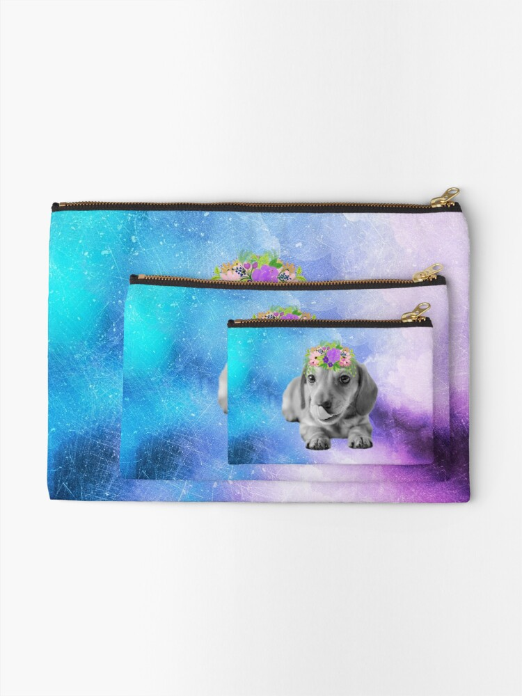 Alternate view of Distressed Watercolour Dachshund Puppy Zipper Pouch