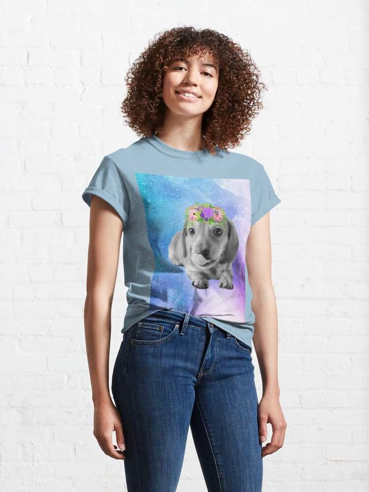 Alternate view of Distressed Watercolour Dachshund Puppy Classic T-Shirt