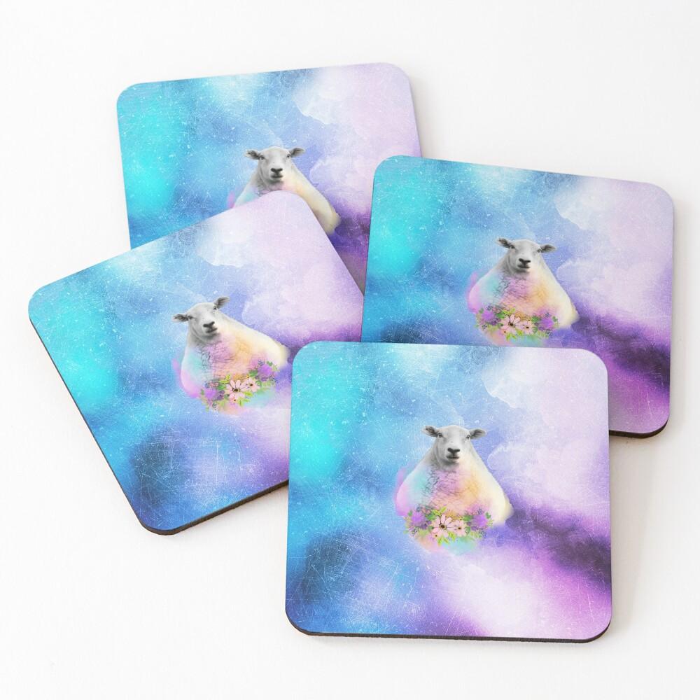 Floral Sheep Distressed Watercolour Splash Coasters (Set of 4)