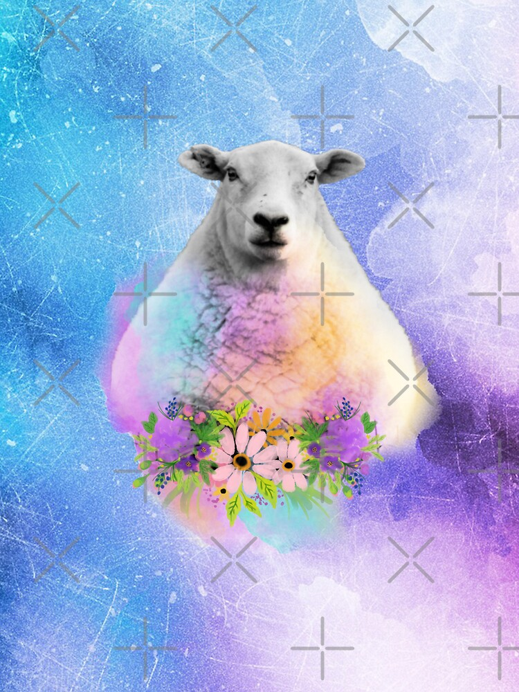 Floral Sheep Distressed Watercolour Splash by tribbledesign