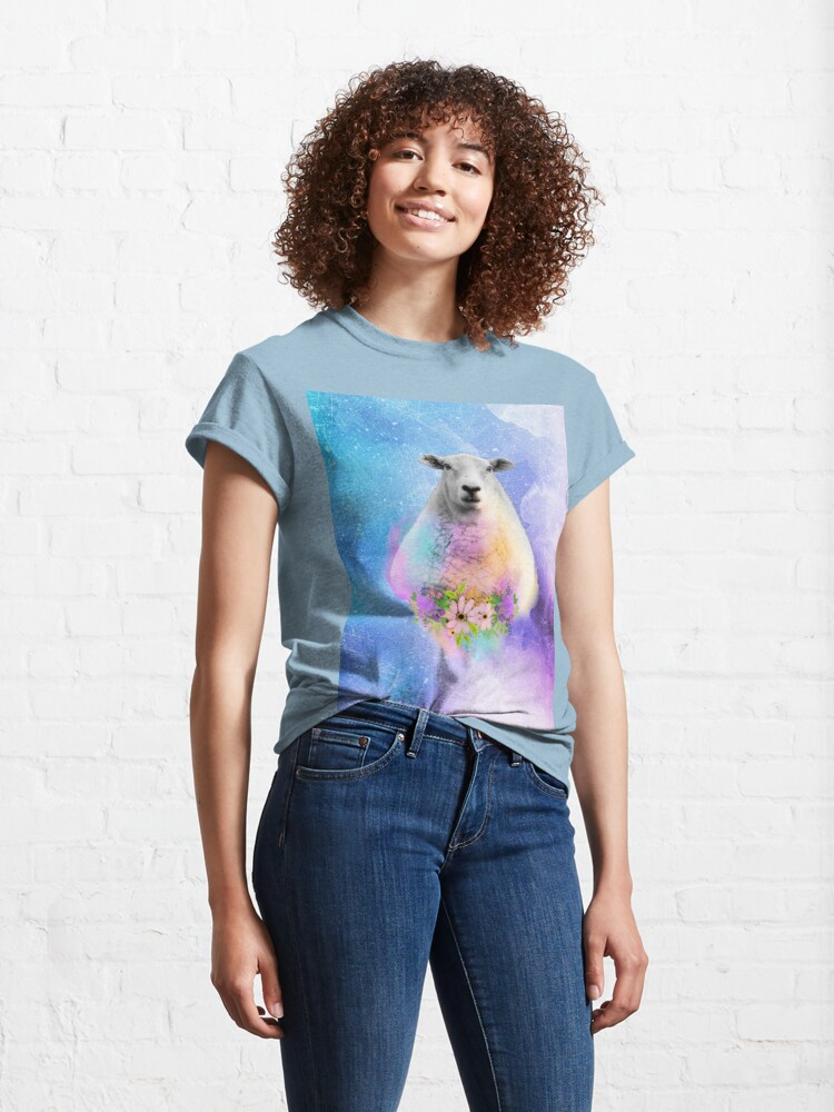 Alternate view of Floral Sheep Distressed Watercolour Splash Classic T-Shirt