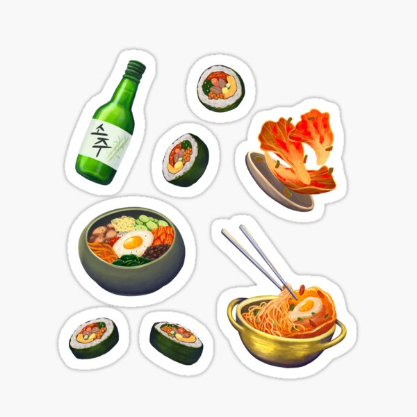 Korean Food Set Sticker