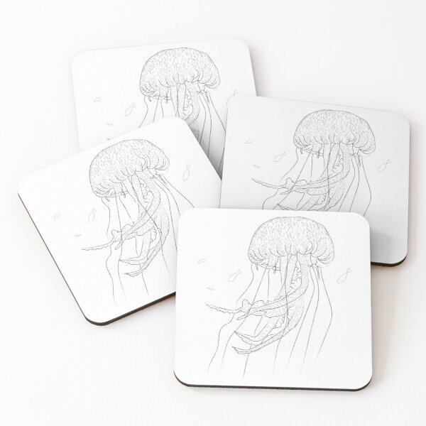 Jellyfish Marine Animal Design Coasters (Set of 4)