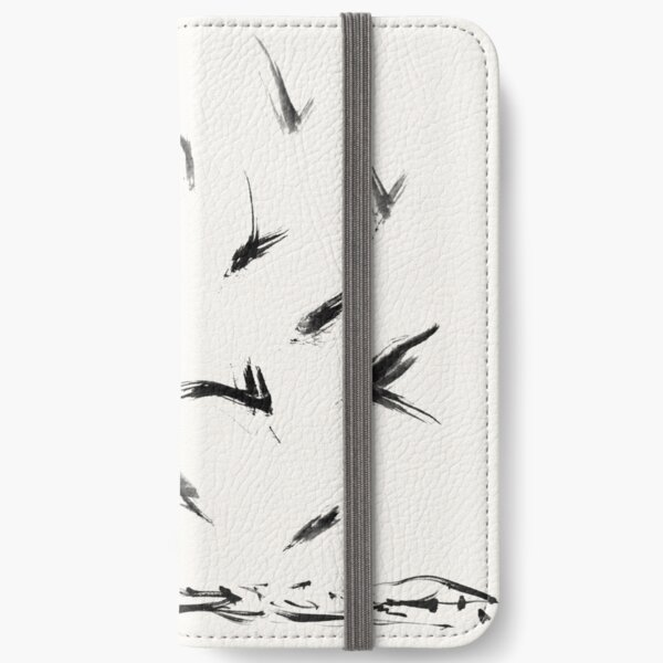 Field Crows | Minimal Ink Brush Abstract iPhone Wallet