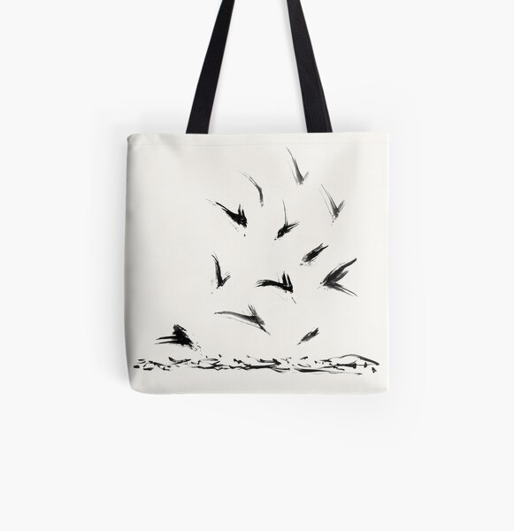 Field Crows | Minimal Ink Brush Abstract All Over Print Tote Bag
