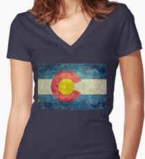 Colorado State Flag with vintage retro style treatment Women's Fitted V-Neck T-Shirt