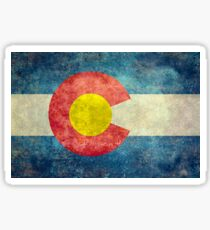 Colorado State Flag with vintage retro style treatment Sticker