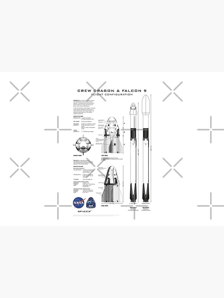NASA SpaceX Crew Dragon Spacecraft & Falcon 9 Rocket Blueprint in High Resolution (white) by RHorowitz