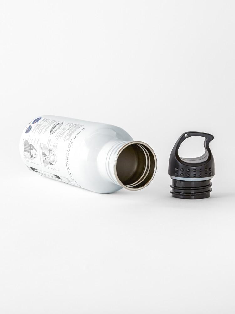 Alternate view of NASA SpaceX Crew Dragon Spacecraft & Falcon 9 Rocket Blueprint in High Resolution (white) Water Bottle