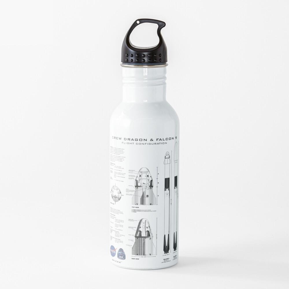 NASA SpaceX Crew Dragon Spacecraft & Falcon 9 Rocket Blueprint in High Resolution (white) Water Bottle