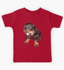 Rottweiler Puppy with Funny Cute Geeky Expression Kids Tee