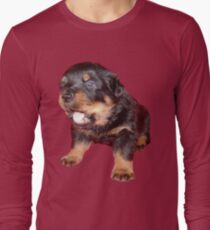 Rottweiler Puppy with Funny Cute Geeky Expression Long Sleeve T-Shirt