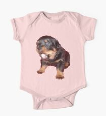 Rottweiler Puppy with Funny Cute Geeky Expression Kids Clothes
