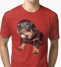 Rottweiler Puppy with Funny Cute Geeky Expression Tri-blend T-Shirt