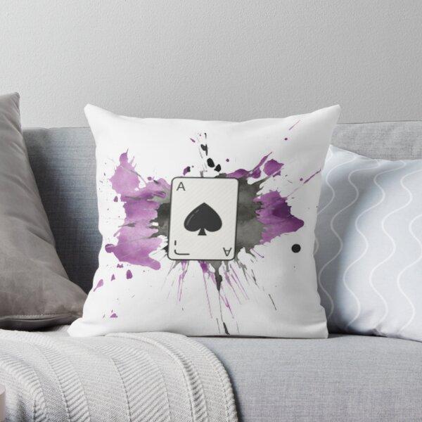 Ace of Spades Splatter Paint Throw Pillow