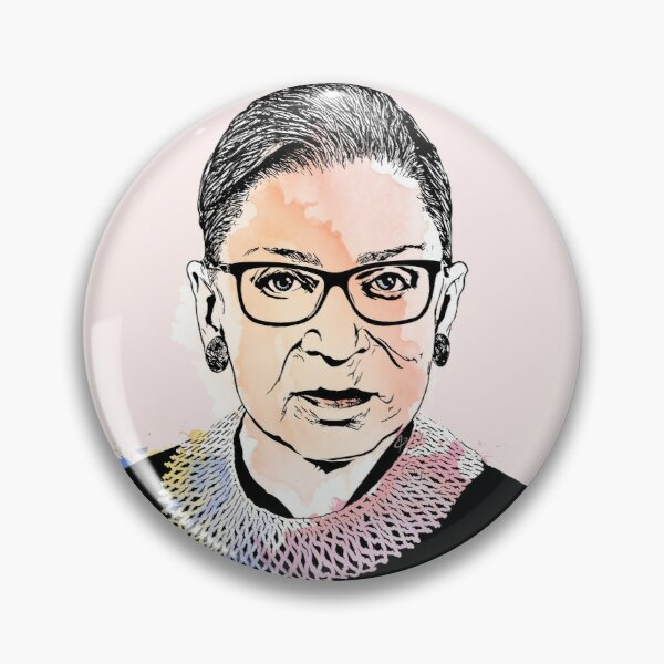 Ruth Bader Ginsburg Original Digital Portrait With Splashes Of Water Color Pin