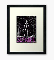dark creepy slender man in forest on Halloween by Tia Knight Framed Print