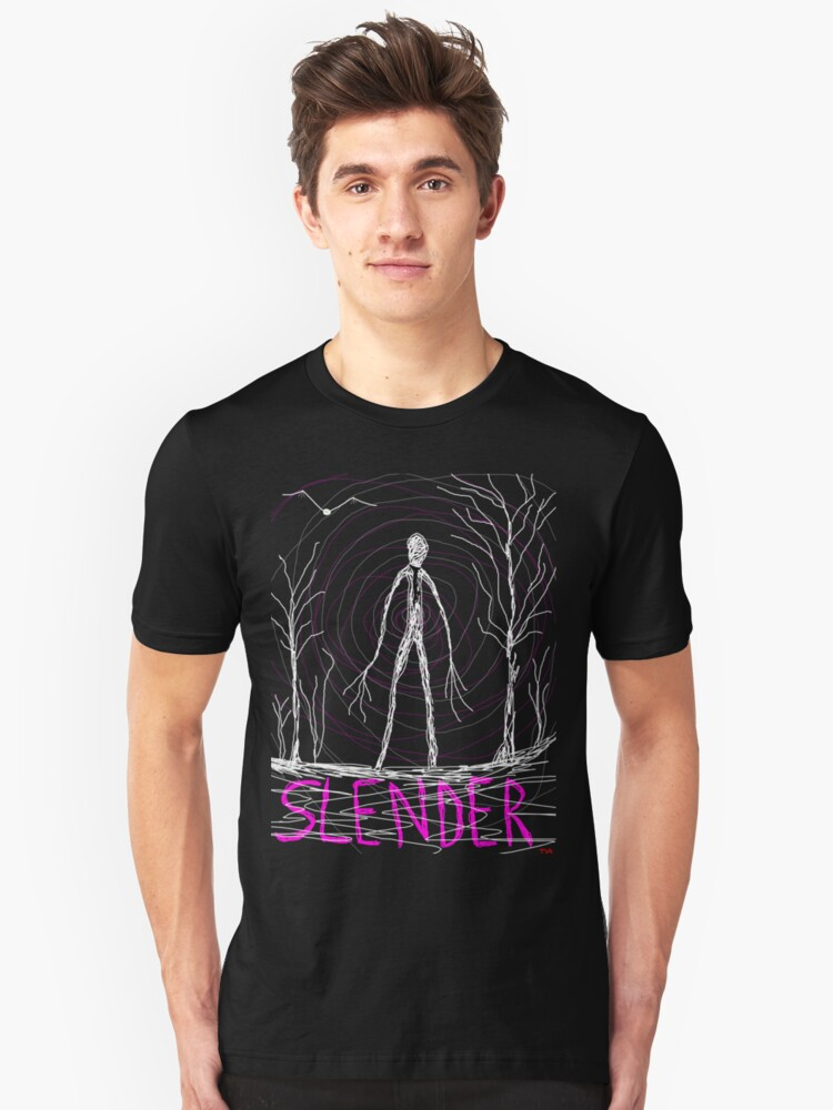 dark creepy slender man in forest on Halloween by Tia Knight by Tia Knight
