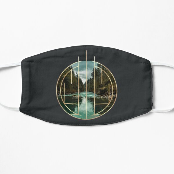 Teal River in an Golden Geometric Circle Art Deco Design Mask