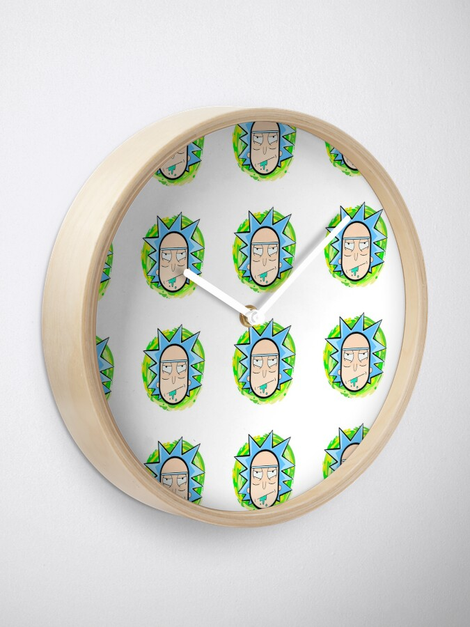 Alternate view of Abstract Rick  head coming from another dimension Clock