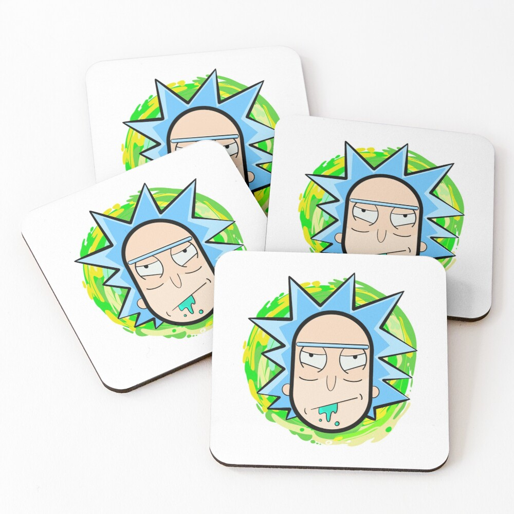 Abstract Rick  head coming from another dimension Coasters (Set of 4)