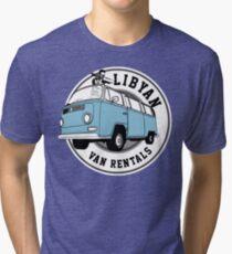 Back to the Future 'Libyan Van Rentals' Logo Tri-blend T-Shirt