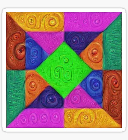 DeepDream Color Squares Visual Areas 5x5K v1448026462 Sticker