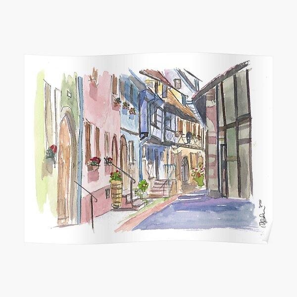 Riquewihr Fairy Tale Village Alsace France Scène de rue Poster