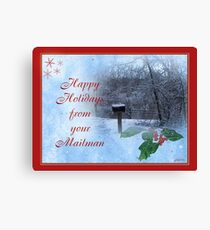 Happy Holidays From Mailman Canvas Print